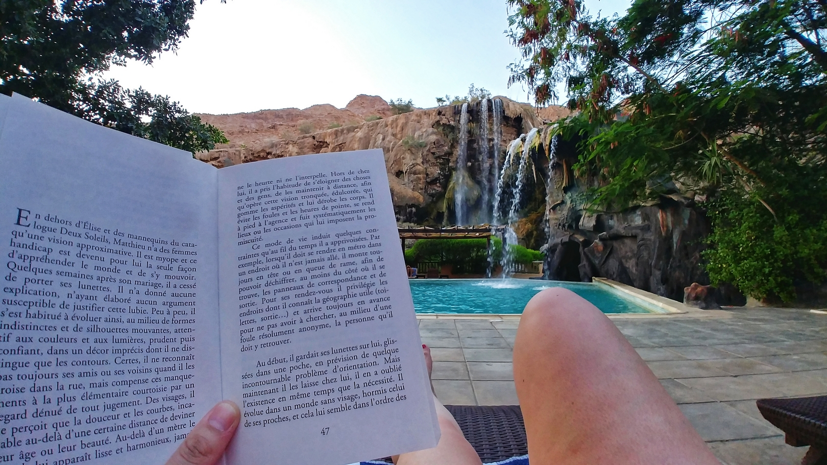 Jordanie - Fin de journée au pied des chutes d'eau chaude de Ma'In hotsprings