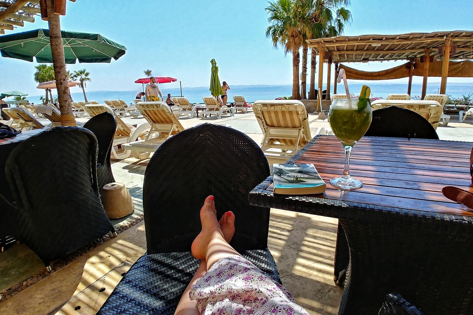 Jordanie - Pause au bord de la mer morte
