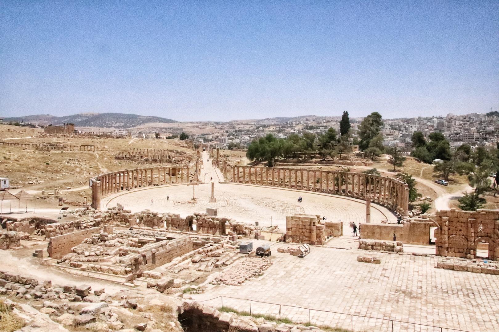 Jordanie - Place ovale sur le site romain de Jerash