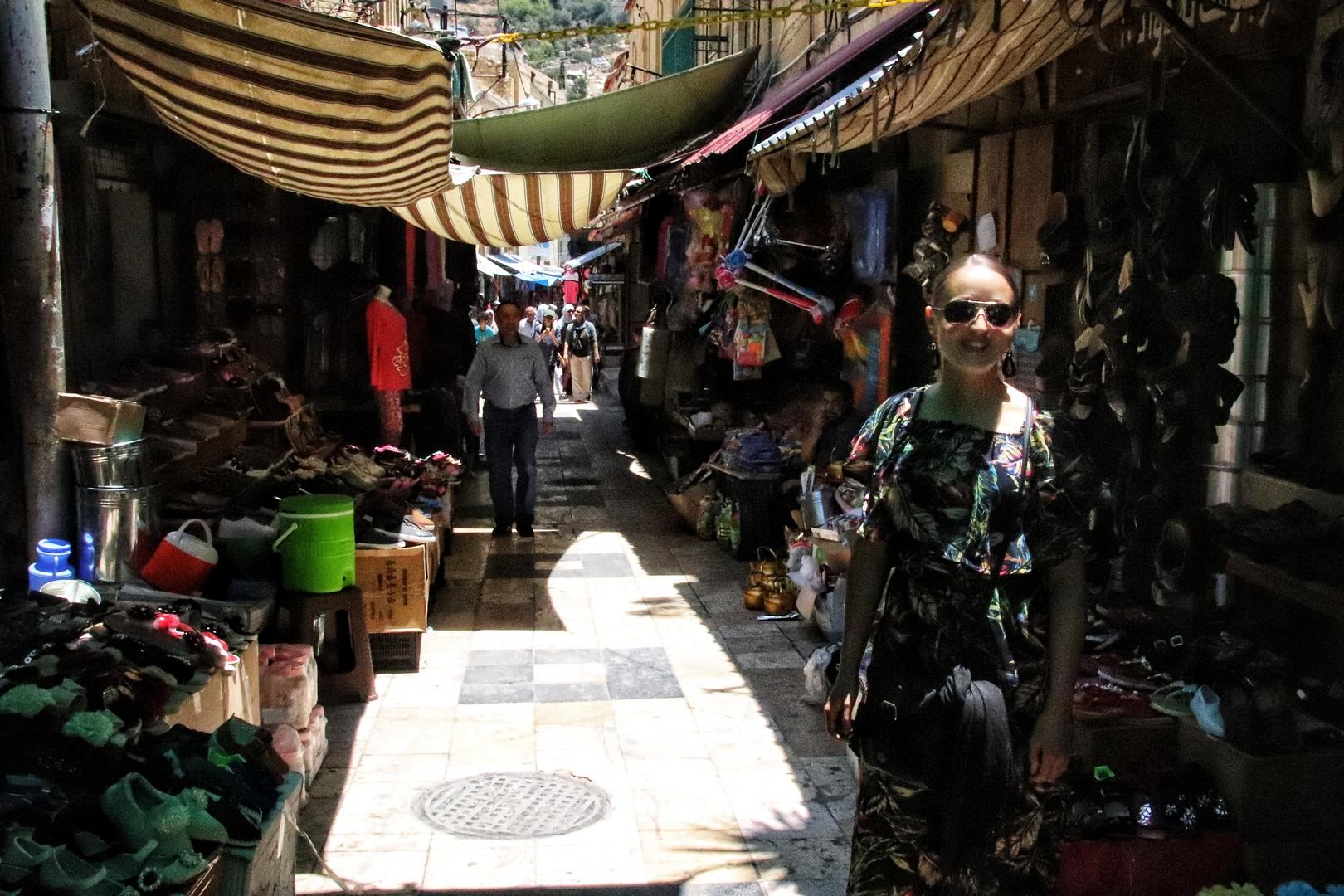 Jordanie - Hammam street, la rue principale de Salt, où se déroule le marché tous les matins