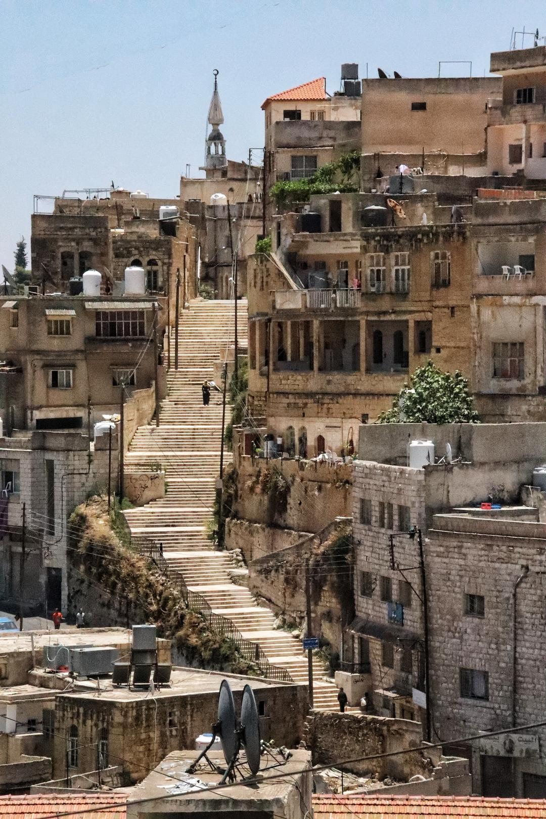 Jordanie - Visite de la vieille ville de Salt avec ses maisons ottomanes et ses nombreux escaliers