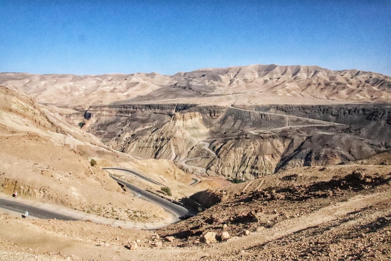 Jordanie - Route d'accès aux chutes d'eau chaude de Ma'In hotsprings