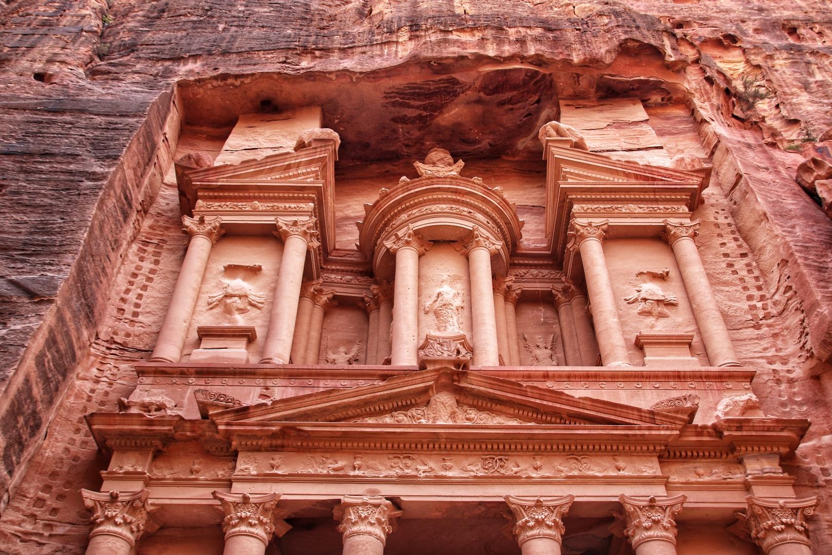 Jordanie - Le khazneh / trésor, monument principal du site de Petra