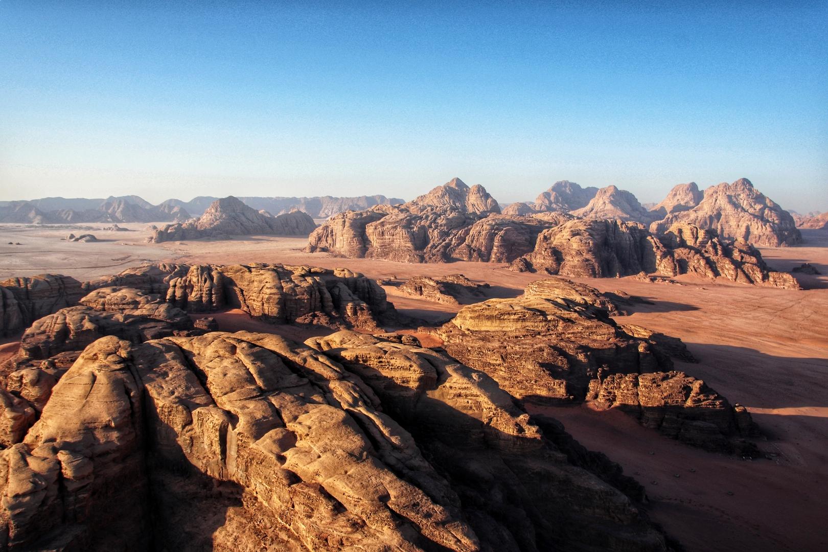 Jordanie - Désert de Wadi Rum vu du ciel
