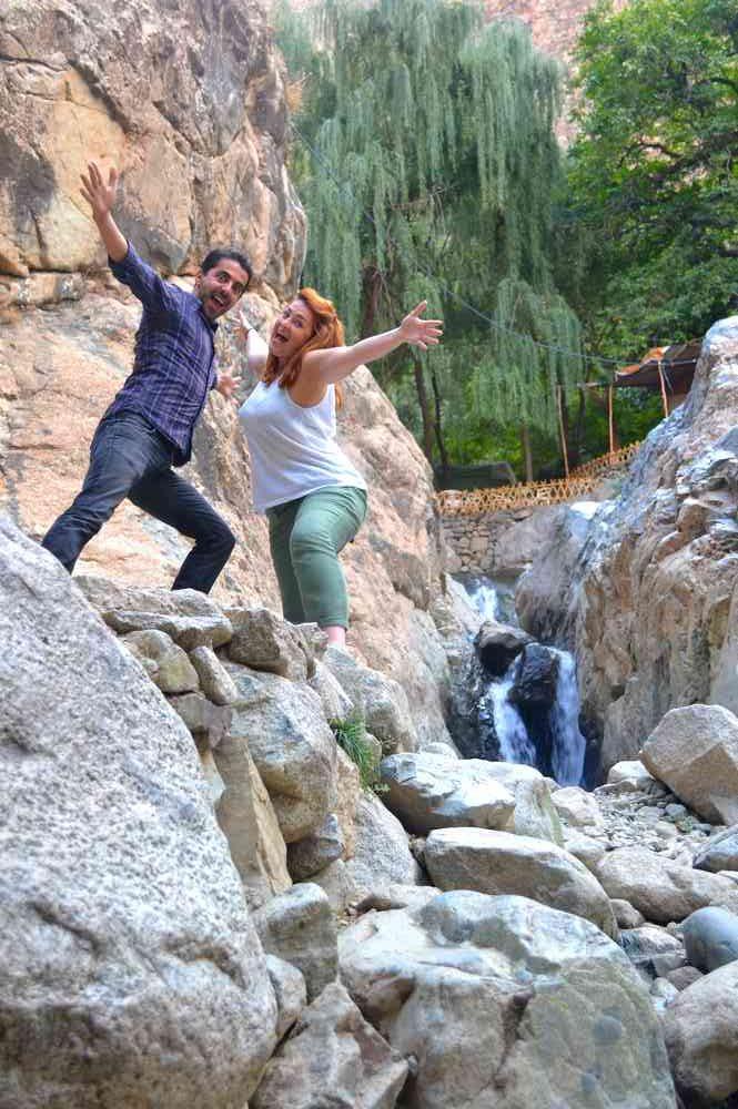 Maroc - Grimpette au milieu des cascades dans la vallée de l'Ourika