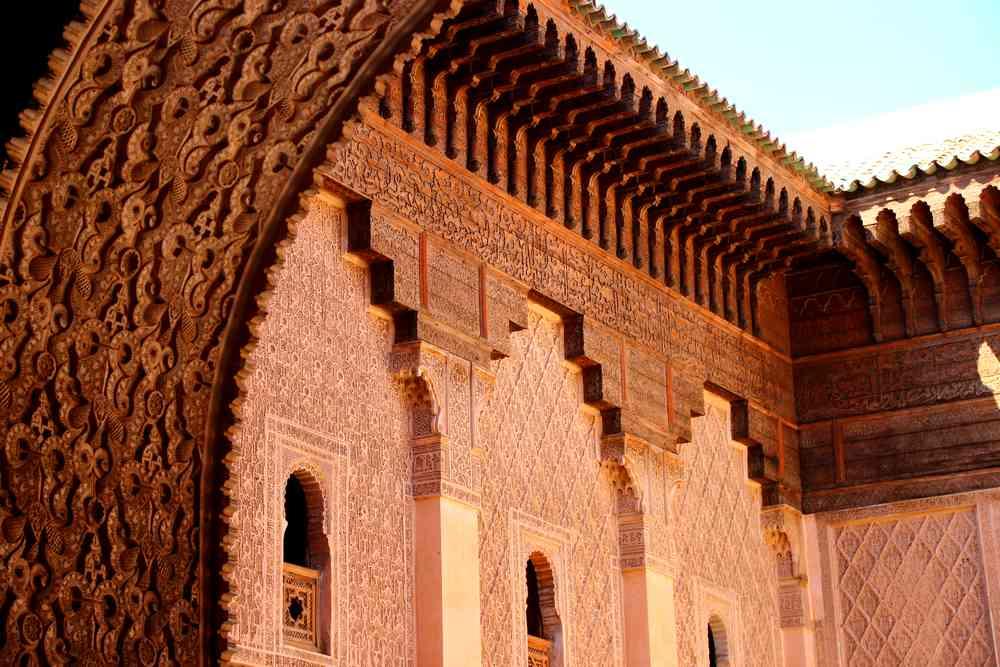 Maroc - Façade sculptée et ciselée de la medersa Ben Youssef à Marrakech