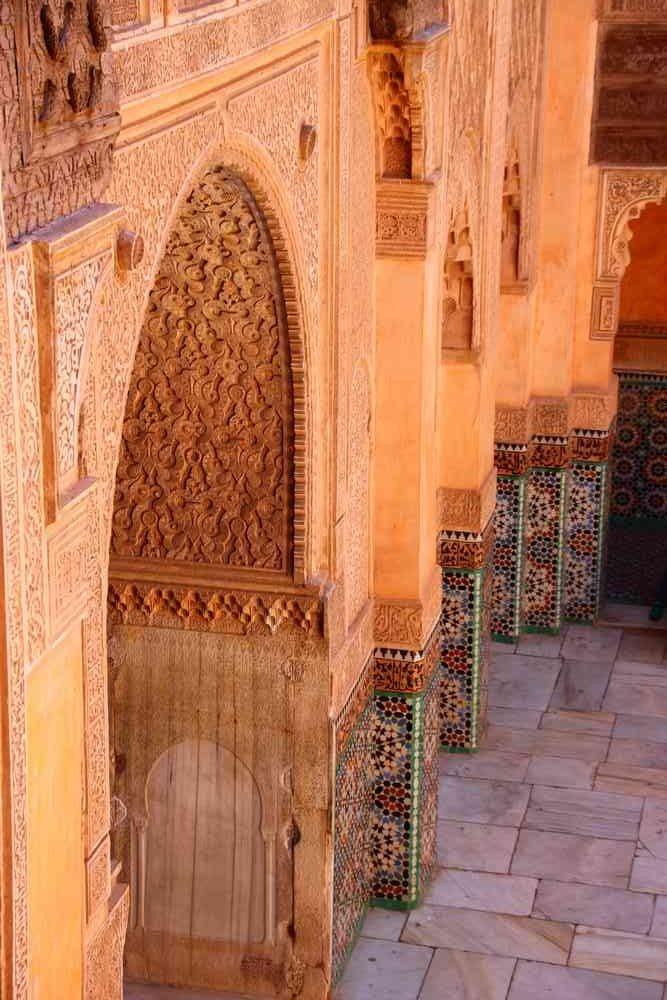 Maroc - Cour centrale de la medersa Ben Youssef à Marrakech