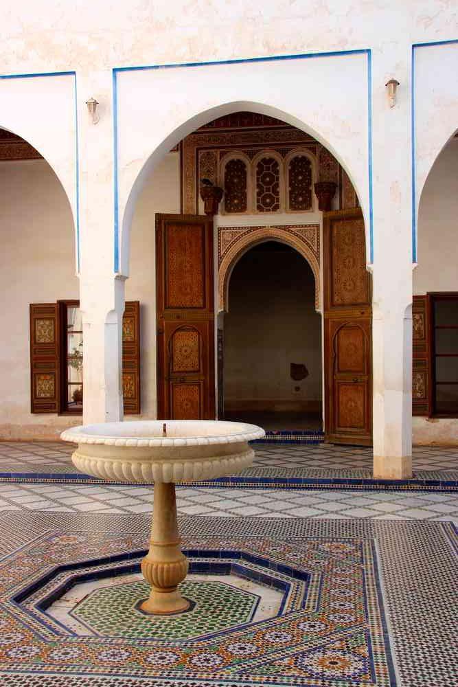 Maroc - Fontaine du Palais Bahia à Marrakech