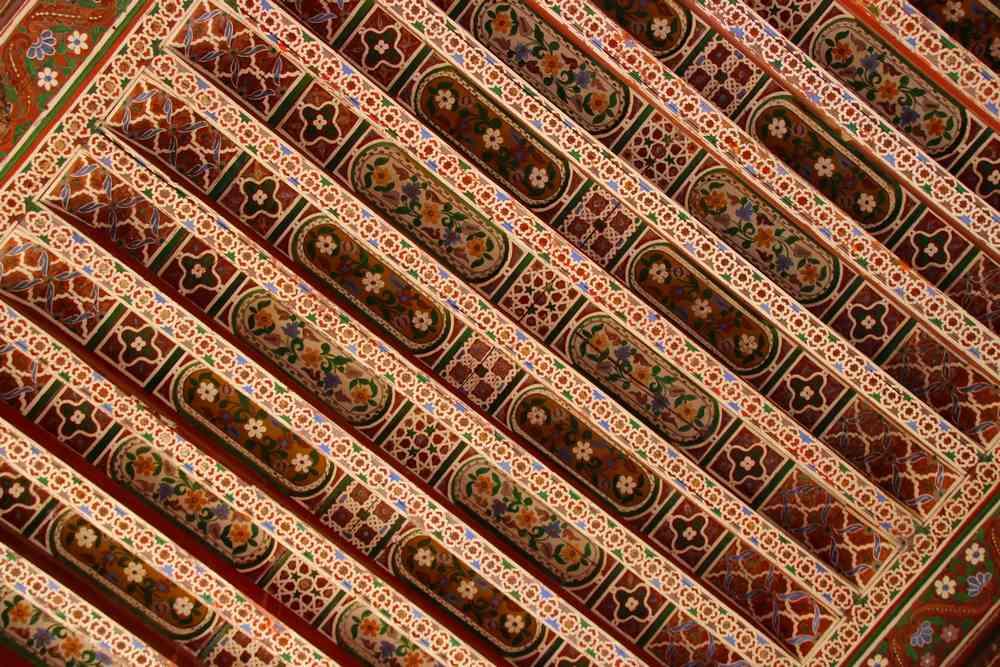 Maroc - Plafond peint du Palais Bahia à Marrakech