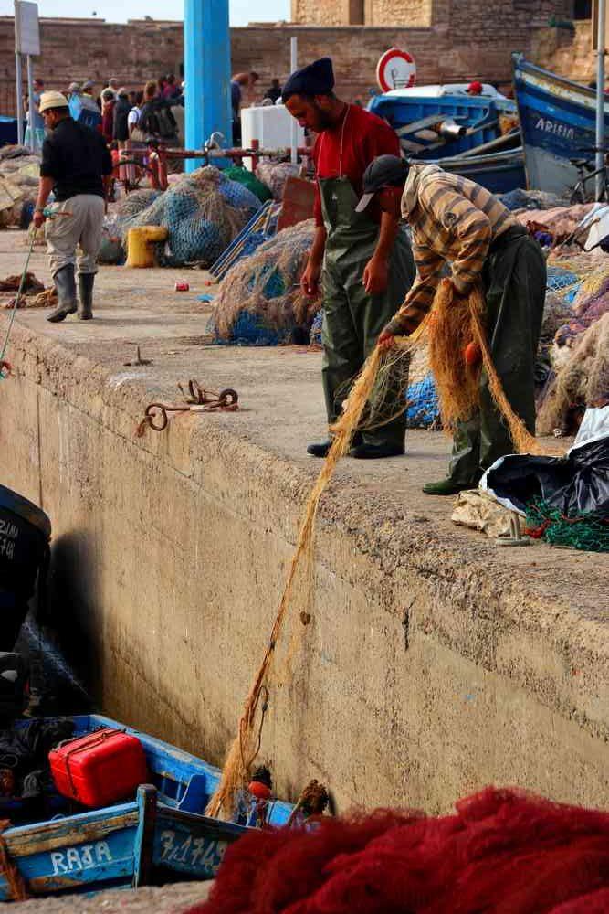 Maroc - Pêcheur dans le port d'Essaouira
