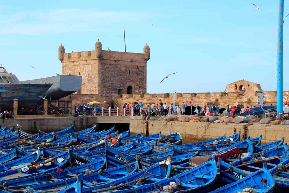 Maroc - Barques bleues dans le port d'Essaouira