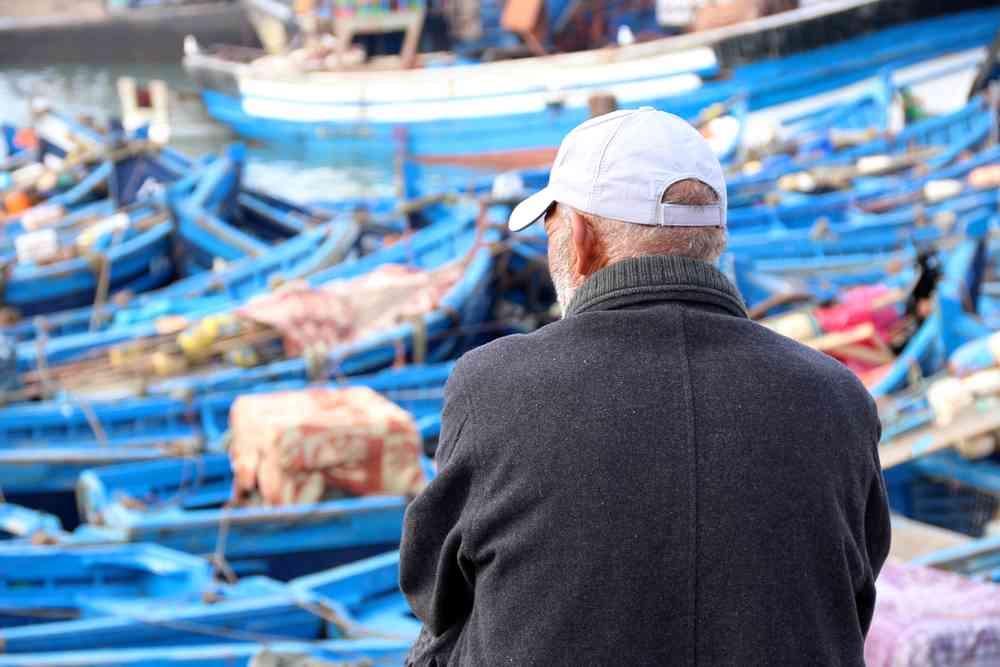 Maroc - Pêcheur devant les barques bleues dans le port d'Essaouira
