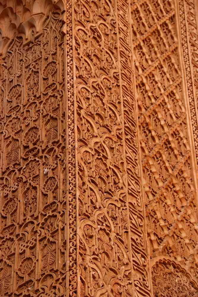 Maroc - Détail en stuc dans les tombeaux saadiens à Marrakech