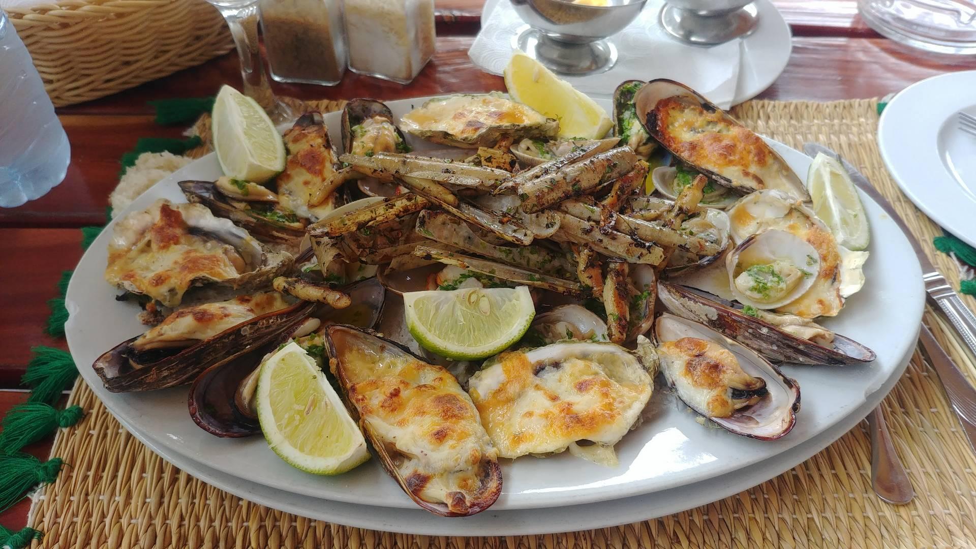 Maroc - Assiette de fruits de mer gratinés à Oualidia